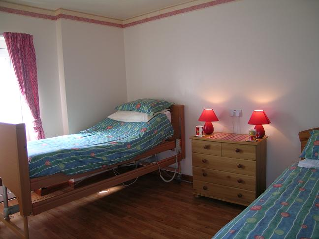 Mefysen twin bedroom, with hospital bed. Sleeps 7, 4 bedrooms, 2 bathrooms.